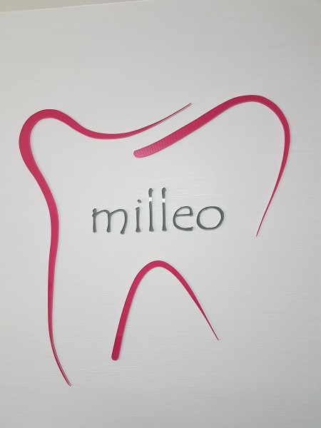 3D Acryl Logo MILLEO (8mm transparent) geklebt